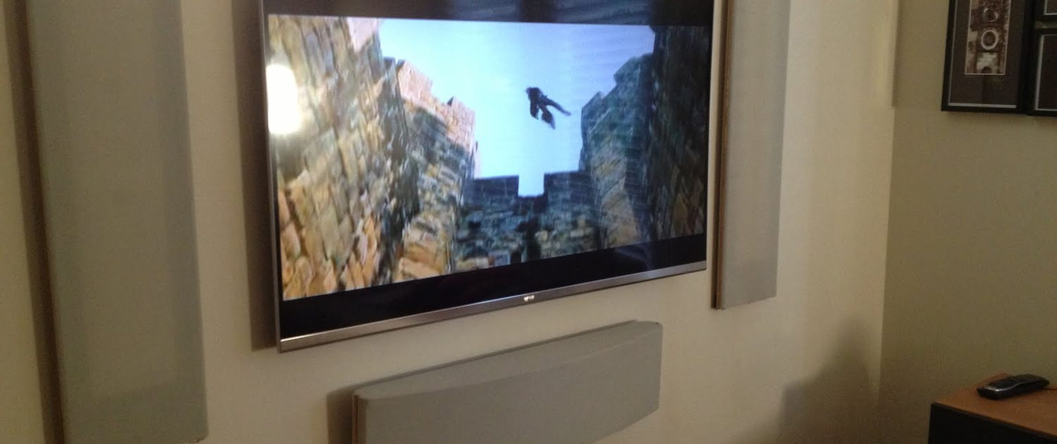Wall mounted television and speakers
